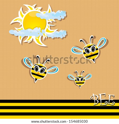 cute baby bee fly in sky. vector illustration.