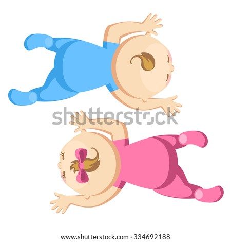 Cute baby boy and girl crawling - stock vector