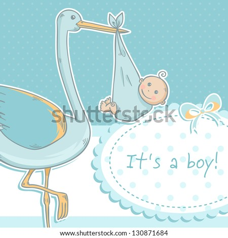 Cute baby boy announcement card with stork and child on polka dot pink background - stock vector