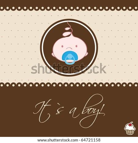 Cute baby boy arrival announcement card. - stock vector