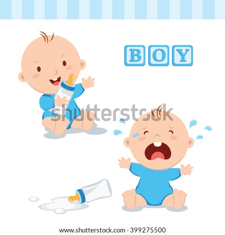 Cute baby boy with milk bottle. Vector illustration of a baby boy holding milk bottle and crying with bottle milk. - stock vector