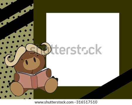 cute baby bull reading background in vector format - stock vector