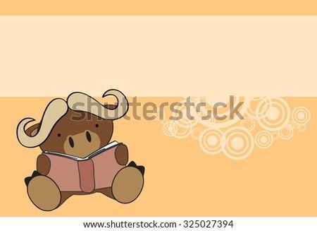 cute baby bull reading cartoon in vector format very easy to edit - stock vector