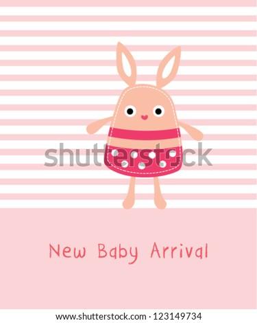 cute baby bunny arrival - stock vector