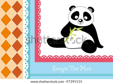 cute baby card with nice panda.vector illustration - stock vector