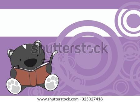 cute baby cat reading cartoon in vector format very easy to edit - stock vector