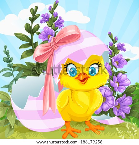 Cute baby chick hatched from an Easter egg on a green lawn with flowers - stock vector