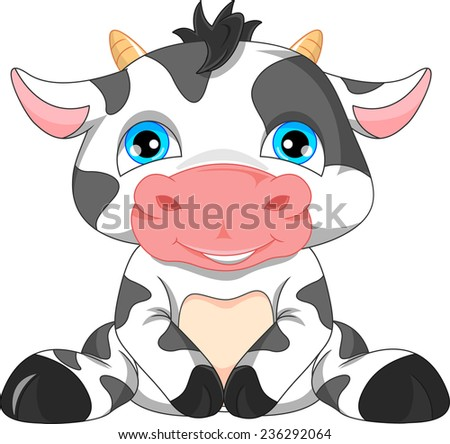 cute baby cow cartoon  - stock vector