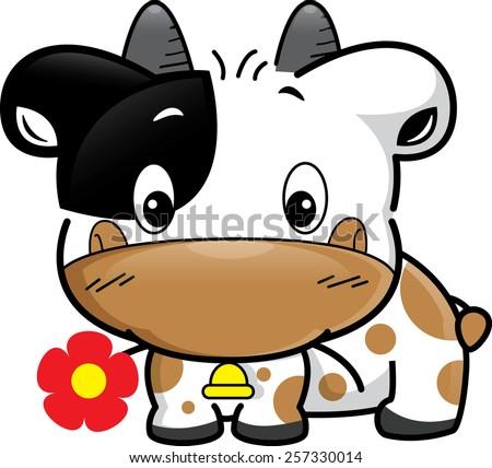Cute baby cow cartoon with flower vector. - stock vector
