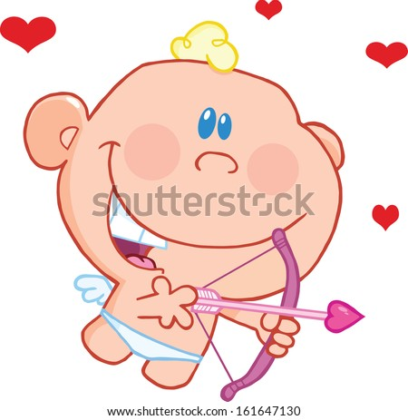 Cute Baby Cupid Flying With Bow And Arrow. Vector Illustration Isolated on white - stock vector