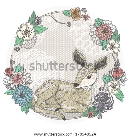Cute baby deer and flowers frame. - stock vector