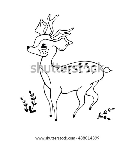 Cute Baby Deer Coloring Book Stock Vector 488014399