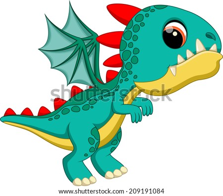 Cute baby dragon cartoon - stock vector