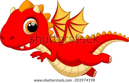 Cute baby dragon flying cartoon - stock vector
