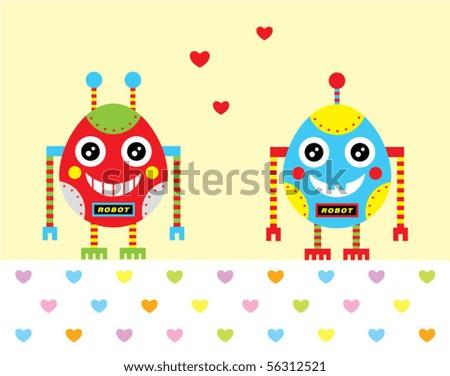 cute baby egg robot couple love - stock vector