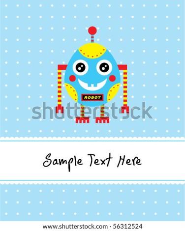 cute baby egg robot greeting - stock vector