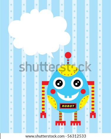 cute baby egg robot message - stock vector