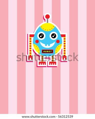 cute baby egg robot tag - stock vector