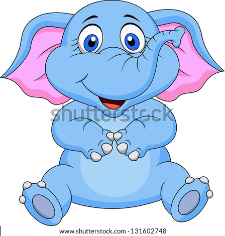 Cute baby elephant cartoon - stock vector