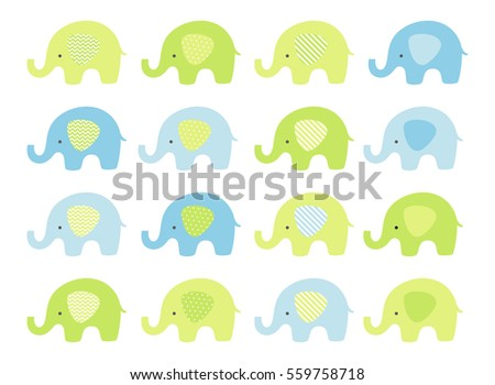 Cute baby elephant set. Vector elephants with patterned ears. Blue and Green.