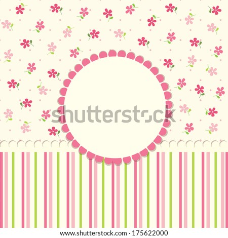 Cute baby flower background - stock vector