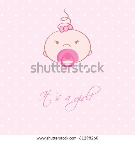 Cute baby girl arrival announcement card. - stock vector