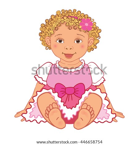 Cute baby girl in pink dress Happy princes Vector Illustration isolated - stock vector