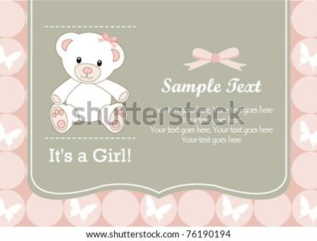 Cute baby girl shower invitation - stock vector
