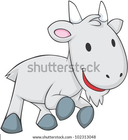 Cute Baby Goat - stock vector