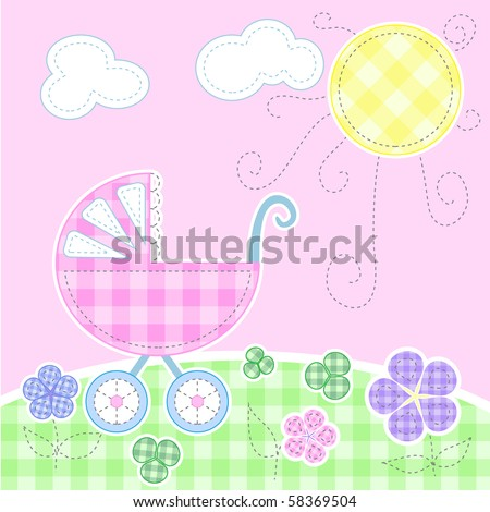 Cute baby greeting card - Stitching series, every object on separate layer - stock vector