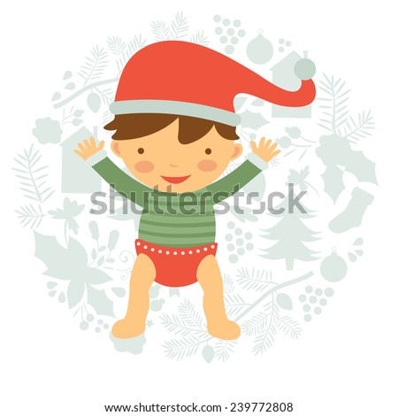 Cute baby illustration on floral Christmas background