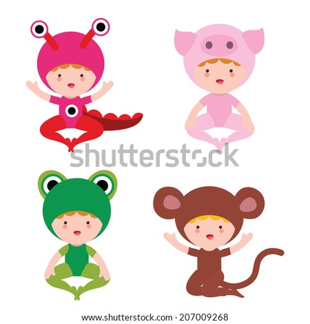 Cute baby in fantasy costumes set - stock vector