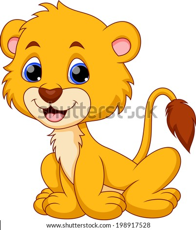 Cute baby lion cartoon - stock vector