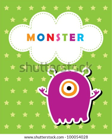 cute baby monster card - stock vector