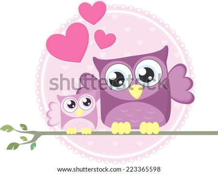 cute baby owl and mom sitting on a branch - stock vector