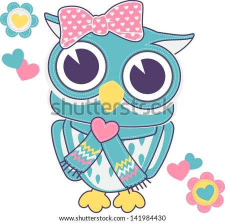 cute baby owl girl with backstitch isolated on white background - stock vector