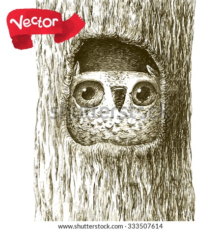 Cute Baby Owl Sitting in a Tree Hollow. Isolated on White. Original High Resolution Graphic Artwork is in Portfolio. - stock vector