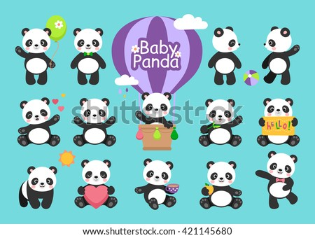Cute Baby Panda bear in various expression and positions, cartoon characters clip art.  - stock vector