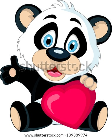 cute Baby panda holding love heart - stock vector