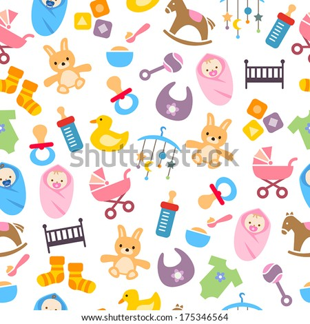 Cute Baby Pattern - can be used as a greeting card, wrapping paper or decorative background. - stock vector