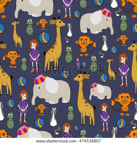 Cute baby pattern design with colorful animal toys on the blue grey background.