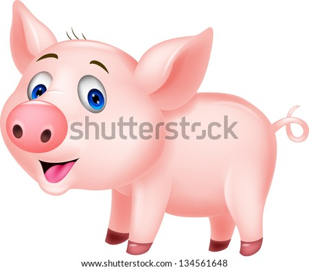Cute baby pig cartoon - stock vector