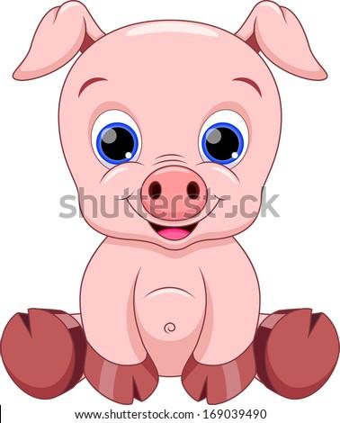 cute baby pig cartoon - stock vector