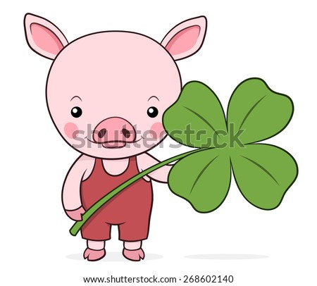 Cute baby pink piggy with a shamrock or four-leaf clover symbolic of St Patricks Day in Ireland and luck, vector cartoon illustration - stock vector