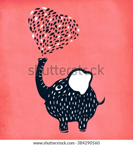 Cute baby poster baby elephant blowing heart. Vector illustration - stock vector