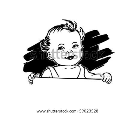 Cute Baby - Retro Clip Art - stock vector