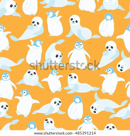Cute baby sea lion and baby penguin on orange background pattern. Animal seamless pattern design.