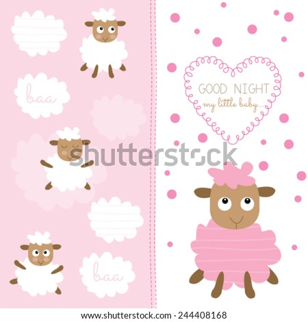 cute baby sheep vector illustration - stock vector