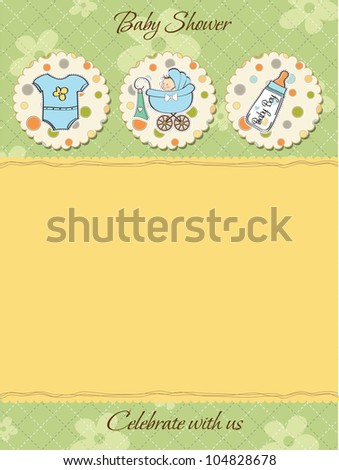cute baby shower card - stock vector