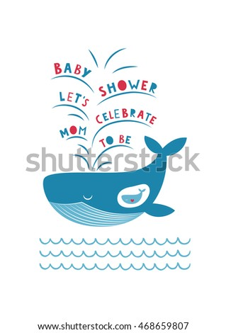 Cute baby shower card design. Mother and baby. Vector illustration.